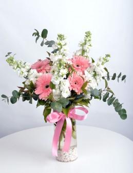 Silindir Vazoda Şebboy ve Gerbera  çiçek gönder