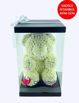 Teddy Love (Beyaz) Ömürlük Bir Hediye  çiçek gönder