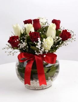 Aşk Küresi Kırmızı Beyaz Güller  çiçek gönder