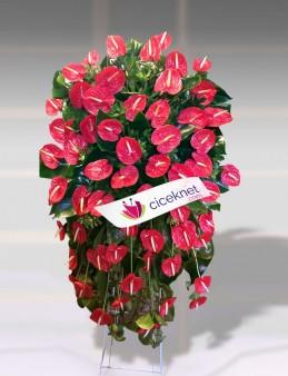 Kırmızı Antoryumlu Ferforje  çiçek gönder
