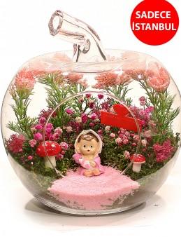 Yenidoğan Kız Bebek Teraryum Aranjmanı  çiçek gönder