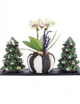 Trio Toile De Jouy Noel Tasarım Sarı Orkide  çiçek gönder