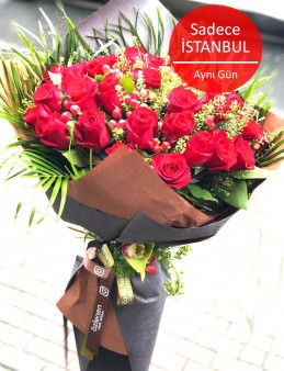 25 Adet Ekvator İri Kafa  Kırmızı Gül Buketi  çiçek gönder
