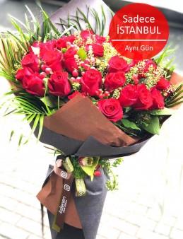 25 Adet Ekvator İri Kafa  Kırmızı Gül Buketi Buketler çiçek gönder
