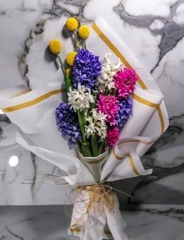 Bahar Renklerinde Mis Kokulu Sümbül Buketi  çiçek gönder