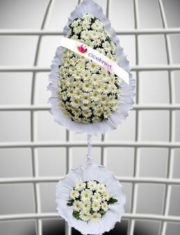 Beyaz Gerberalı Düğün ve Açılış Ayaklı Sepeti Düğün Çelenkleri çiçek gönder