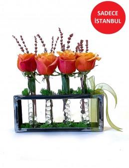 Turuncu Güller ve Şoklanmış Lavanta Aranjmanlar çiçek gönder