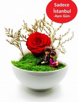Hep Yanımda Kal Solmayan Gül Terarium çiçek gönder