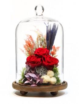 Kapsül Cam Vazoda Solmayan Gül Aranjmanı  çiçek gönder