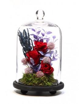 Kapsül Cam Vazoda Solmayan Güller  çiçek gönder