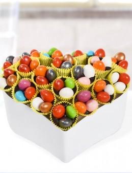 Renkli Kalp Drajeler  çiçek gönder
