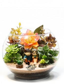 Aşk Hikayesi Yapay Teraryum  çiçek gönder