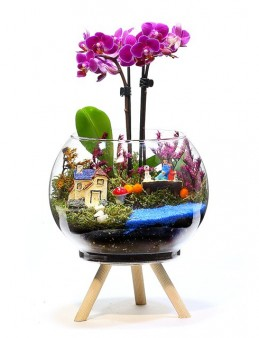 Üç Ayaklı Tasarım Vazoda Mini Orkide   çiçek gönder