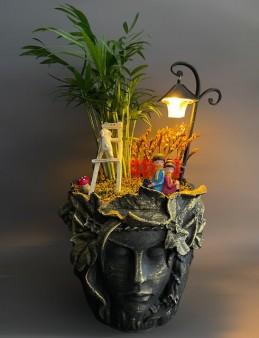 Özel Tasarım Saksıda Işıklı Bahçemiz  çiçek gönder