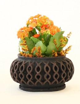Taş Saksıda Turuncu Kalanchoe  çiçek gönder