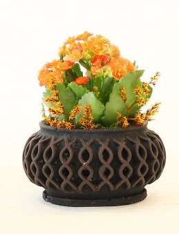 Taş Saksıda Turuncu Kalanchoe Saksı Çiçekleri çiçek gönder