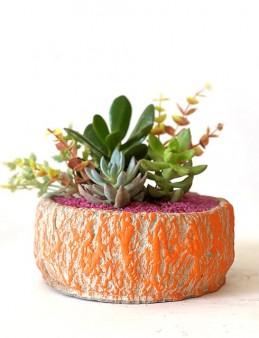 Özel Tasarım Saksıda Yapay Çiçekli Teraryum  çiçek gönder