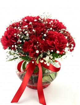 Akvaryum Camda Kırmızı Karanfiller Aranjmanlar çiçek gönder