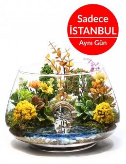Aşk Köprüsü Yapay Teraryum  Terarium çiçek gönder