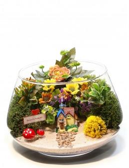 Aşk Bahçesi Yapay Teraryum  çiçek gönder