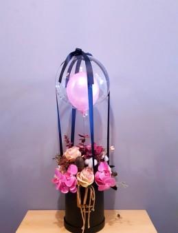 Özel Tasarım Flowers Ballon (Yapay) Kutuda Çiçek çiçek gönder