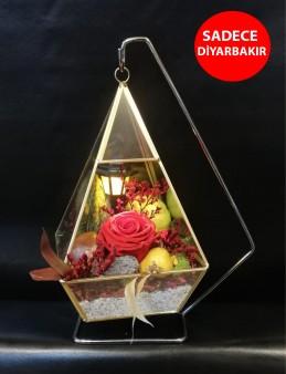 Tasarım Harikası Askılı Cam Vazo ve Solmayan Gül  çiçek gönder