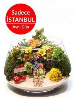 Aşk Bahçesi Yapay Teraryum Terarium çiçek gönder