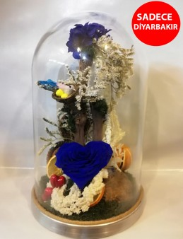 Gold Fanus İçerisinde Mavi Kalp Solmayan Gül Aranjmanlar çiçek gönder