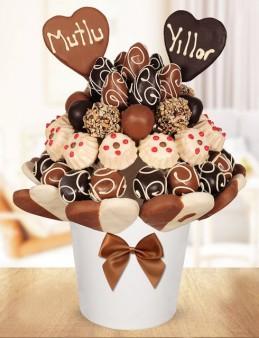 Kalp Atışı Meyve Sepeti Meyve Sepeti ve Çikolatalar çiçek gönder