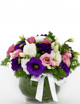 Kır Bahçesi Renkli Lisyantus Aranjmanı.  çiçek gönder