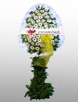 Beyaz Gerberalardan Ayaklı Sepet Düğün Çelenkleri çiçek gönder
