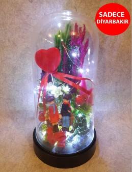 Özel Fanus İçerisinde Aşk Aranjmanı Aranjmanlar çiçek gönder