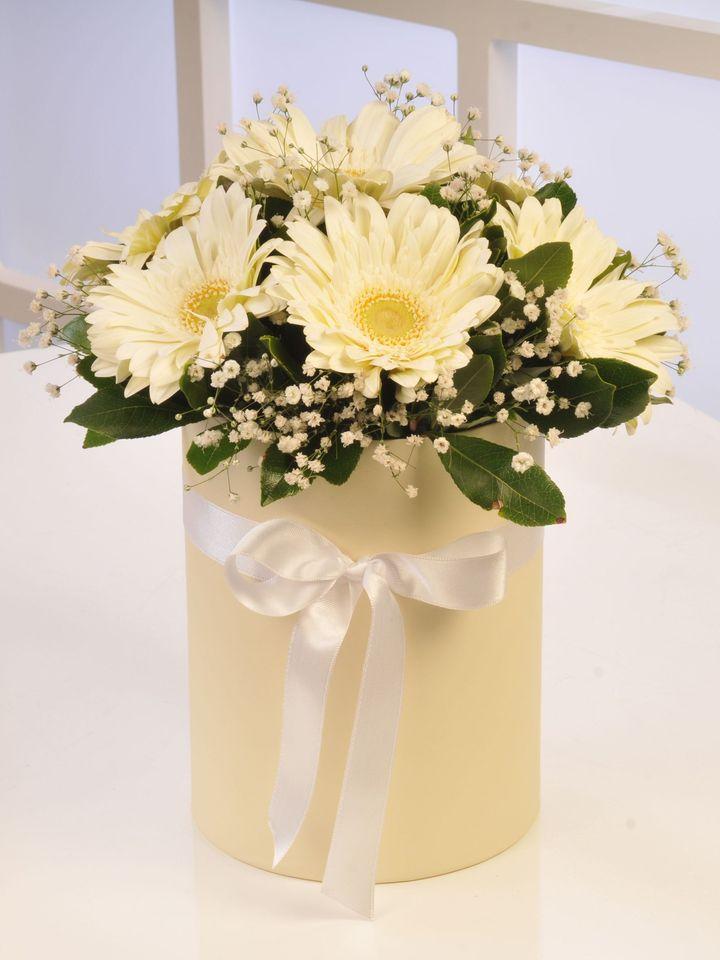 Kutuda Beyaz Gerberalar Kutuda Aranjmanlar çiçek gönder