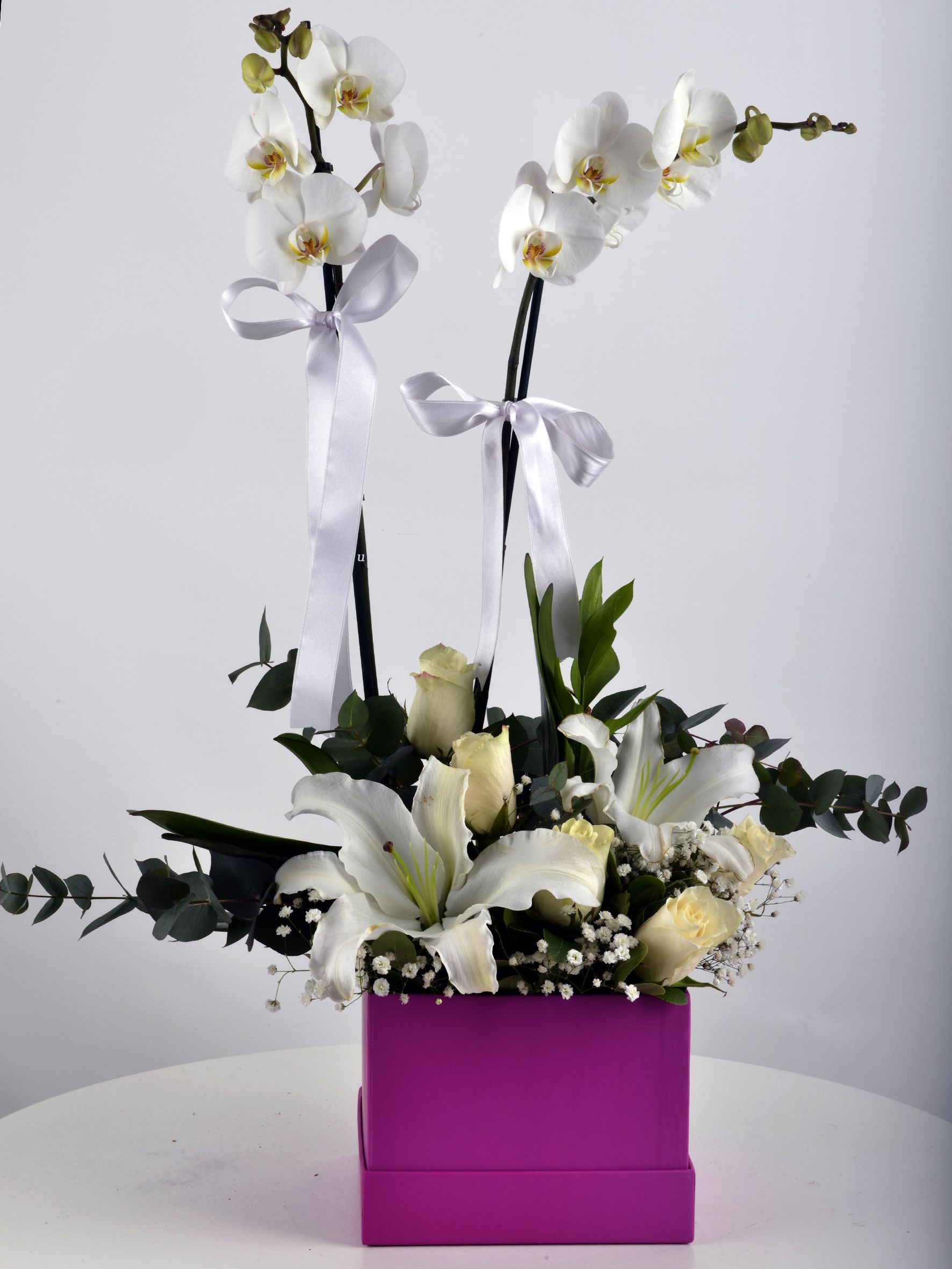 Hediye Kutusunda Çift Dallı Beyaz orkide....  çiçek gönder