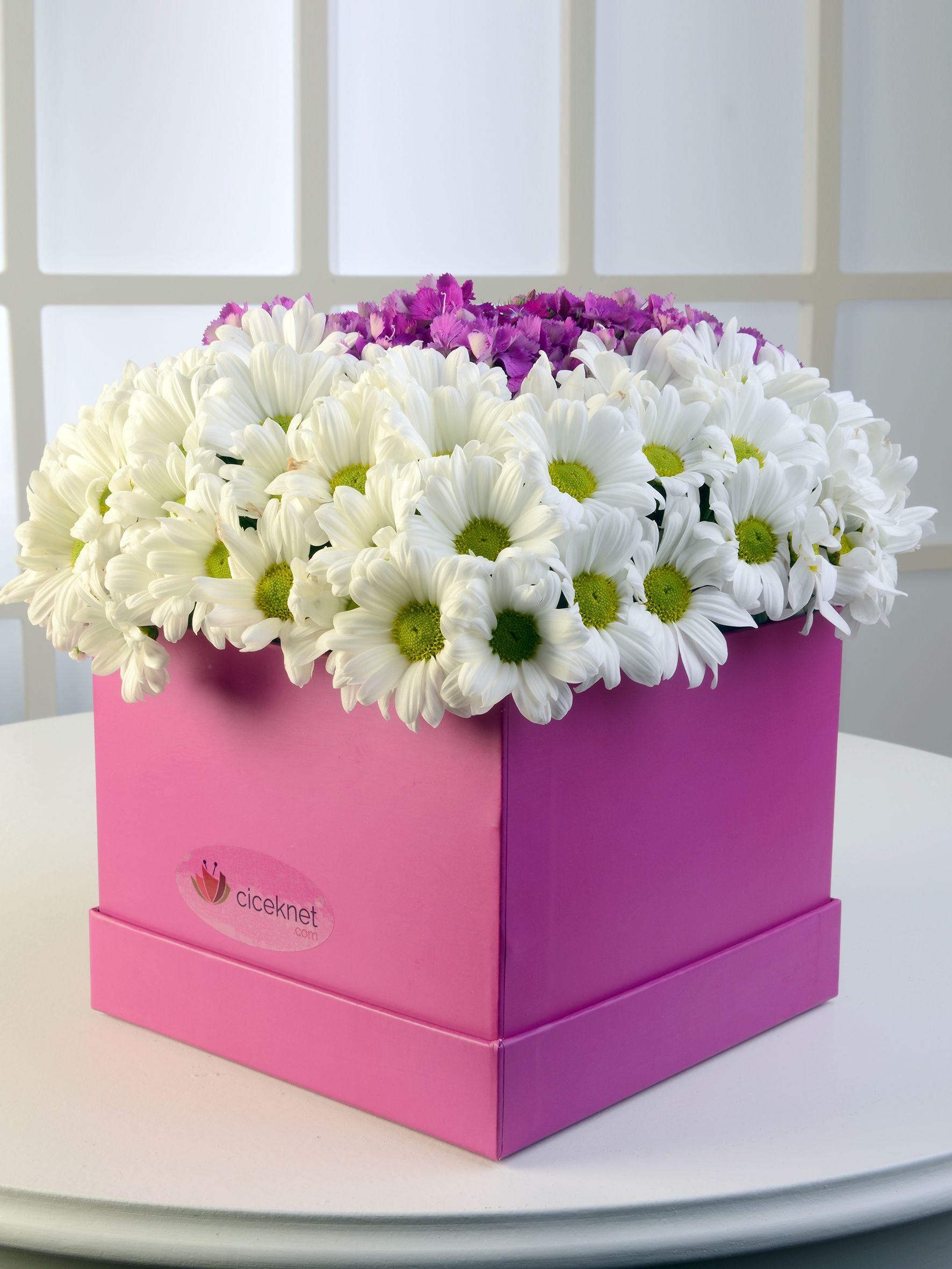 Pembe Kare Kutuda Beyaz Biçmeler.  çiçek gönder
