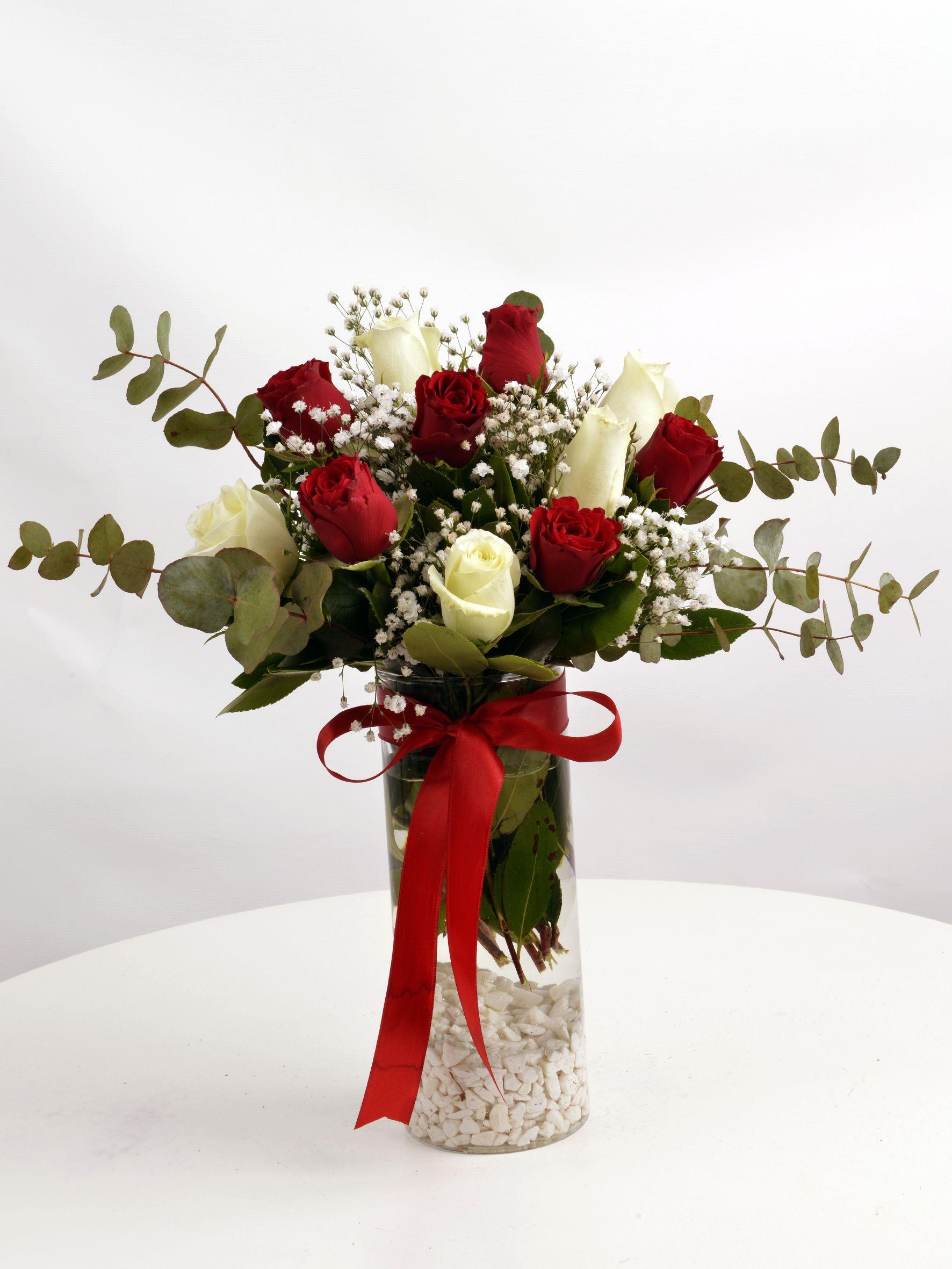 Kırmızı ve Beyaz Güller  çiçek gönder