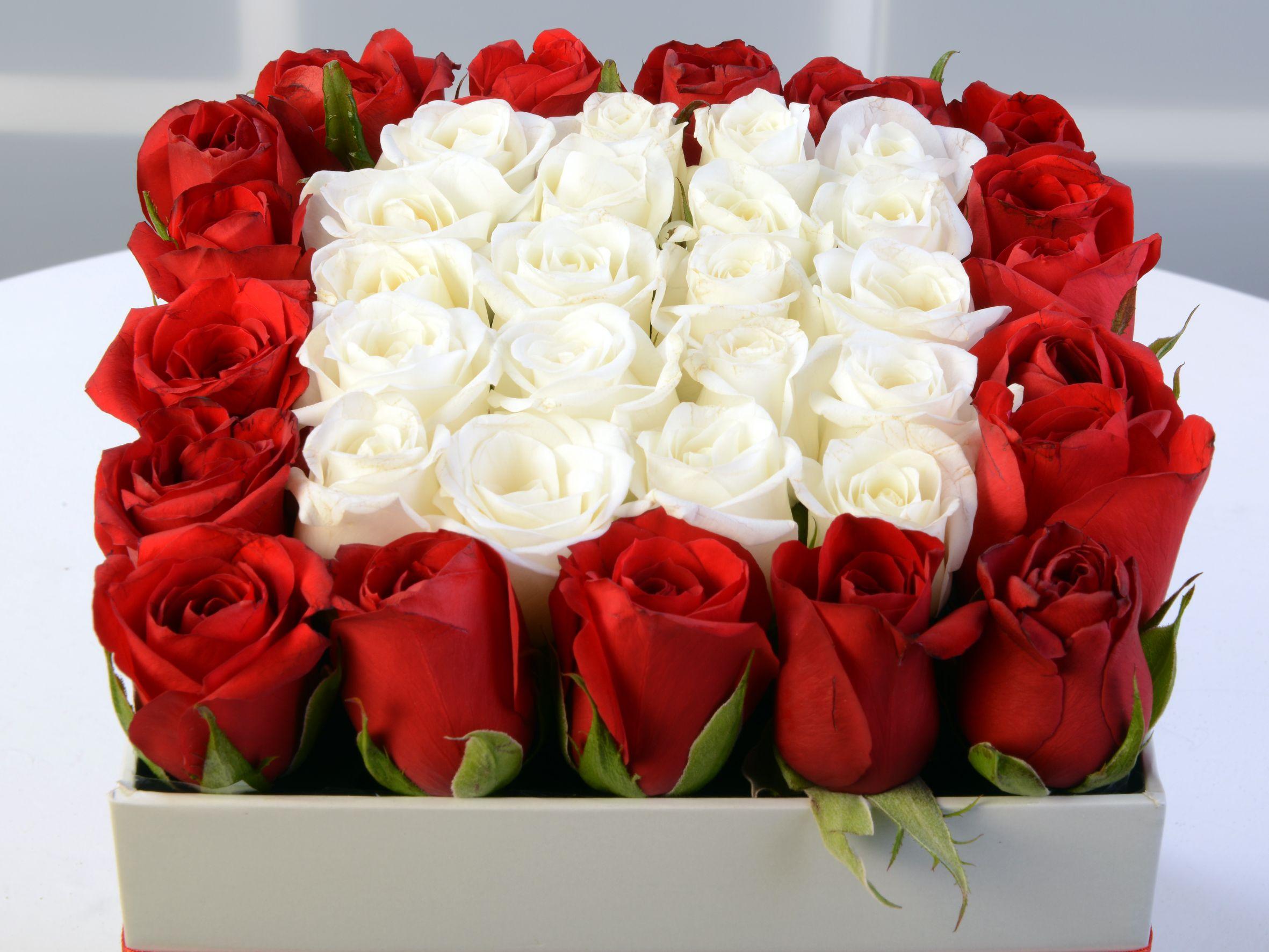 Beyaz Kare Kutuda Gül Aranjmanı Kutuda Çiçek çiçek gönder