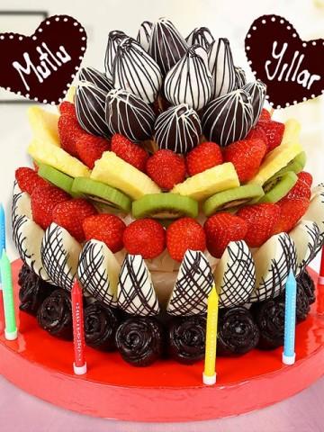 Happy Year Doğum Günü Hediyesi Meyve Sepeti ve Çikolatalar çiçek gönder