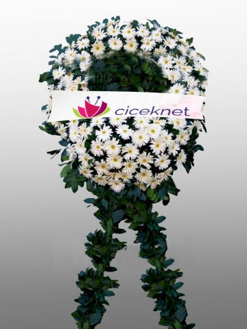 Beyaz Gerbera Cenaze Çelengi Cenaze Çelenkleri çiçek gönder