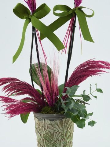 Özel Kadeh Vazoda İkili Mor Orkide Orkideler çiçek gönder