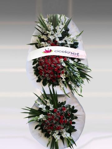 Beyazlı Kırmızı Ayaklı Sepet Düğün Çelenkleri çiçek gönder