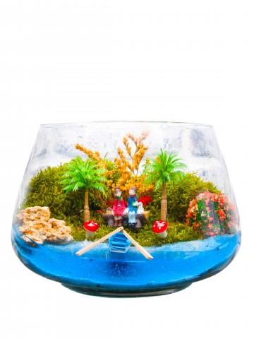 Akdeniz de Aşk Yapay Teraryum Terarium çiçek gönder