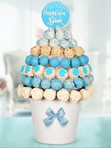 Blue Baby Yeni Doğan Bebek Meyve Sepeti ve Çikolatalar çiçek gönder