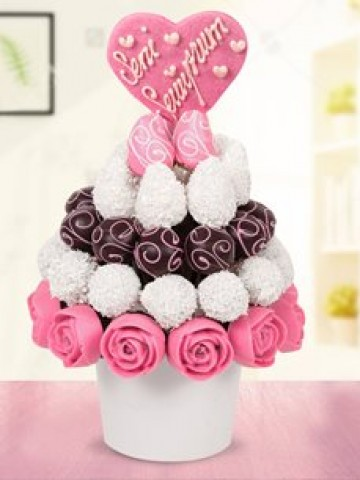 Pink Love Meyve Sepeti Meyve Sepeti ve Çikolatalar çiçek gönder