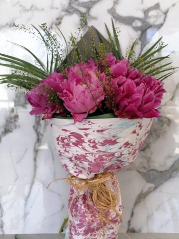 Ebru Sanatlı Pembe Şakayık Buketler çiçek gönder
