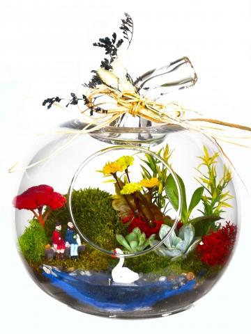 Akdeniz'de  Aşk Bir Başka Yapay  Teraryum Terarium çiçek gönder