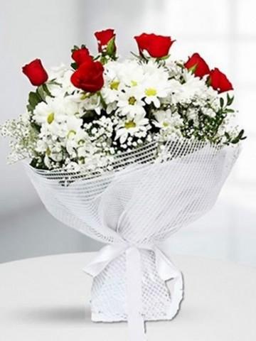 7 Adet Kırmızı Gül ve Papatya Buketi Buketler çiçek gönder