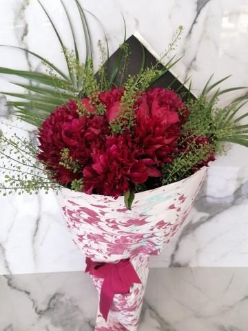 Ebru Sanatlı Fuşya Şakayık Buketler çiçek gönder