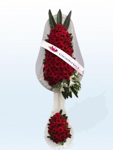 Kırmızı Gerberalı Ayaklı Sepet Düğün Çelenkleri çiçek gönder