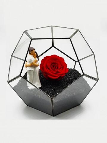 Geometrik Teraryum Canım Sevgilim Siyah İnci Solmayan Güller  çiçek gönder